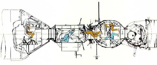 Apollo Spacecraft Drawings Artist's Drawing of Internal
