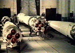 R-7 ICBM in assembly
